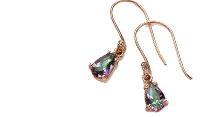 Pair of teardrop cut iridescent faceted crystal earrings in pink, purple and green tones with rose gold hooks and setting shown on a white background