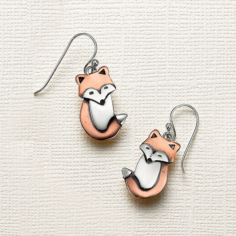 Copper & Silver Fox Drop Earrings