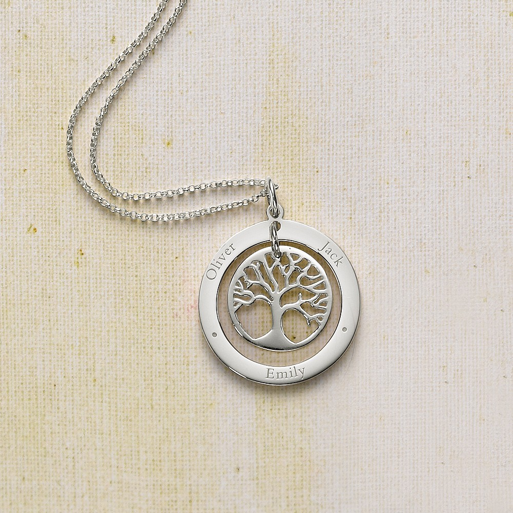Personalised Family Tree Circle Pendant