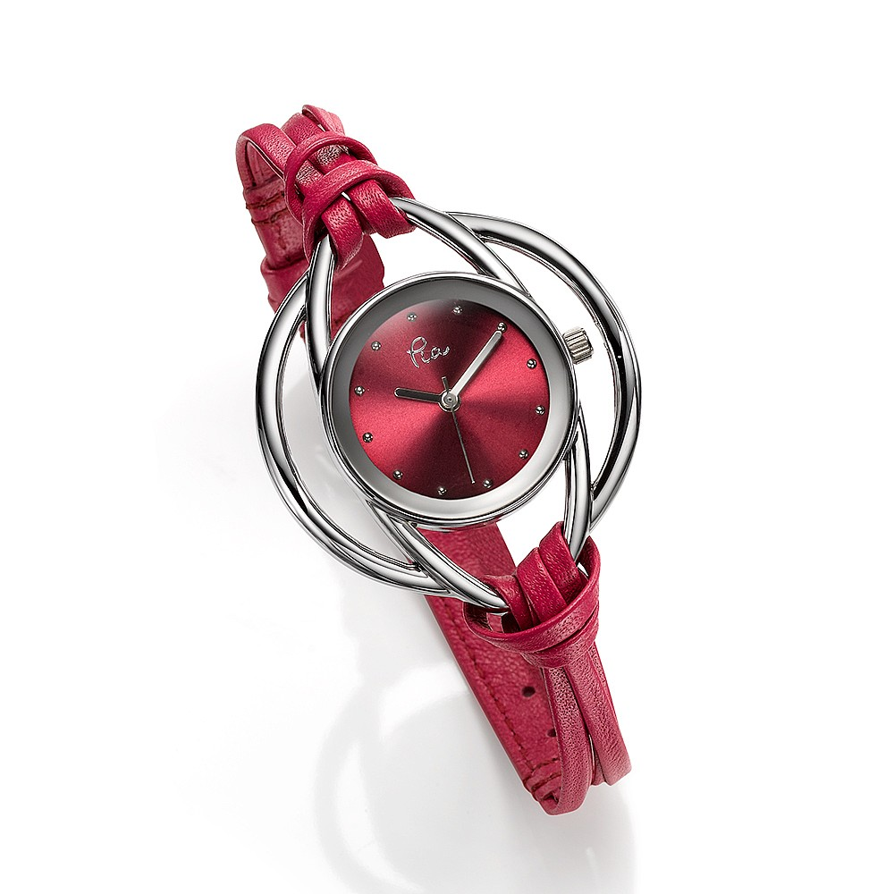 Fuchsia Leather Loops Watch