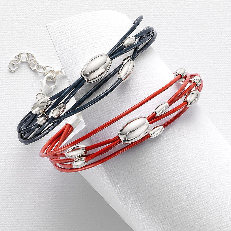 Elipses Entwined Red Leather Bracelet