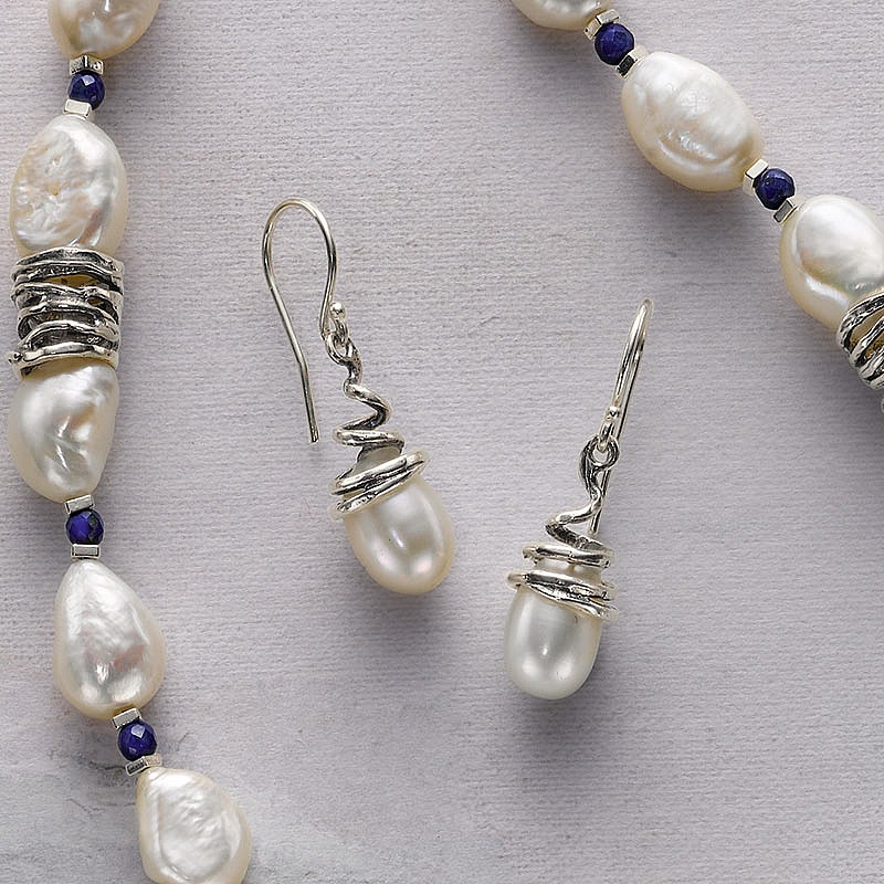 Silver Tendril Pearl Earrings