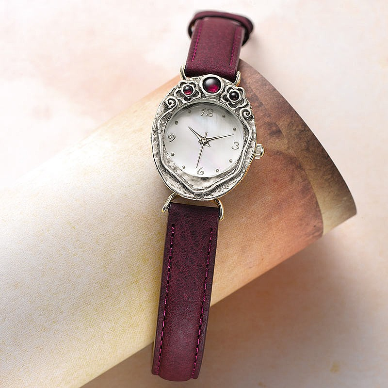 Glow of Garnet  Silver Watch