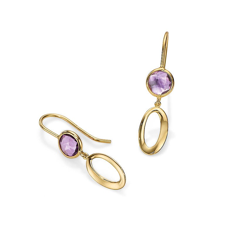 Ethereal Aura Amethyst & Gold Earrings