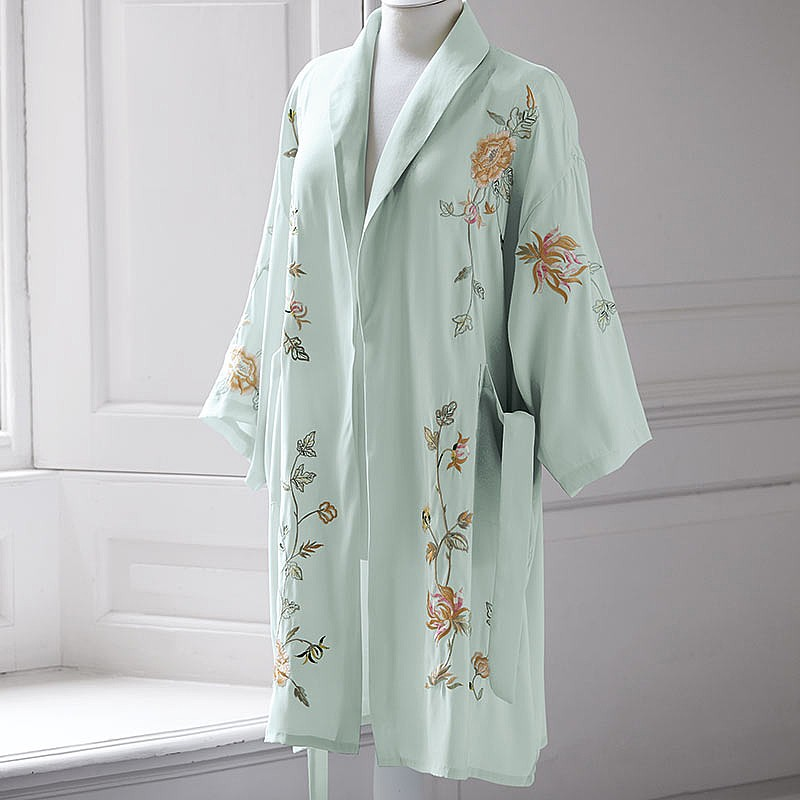 Frosted Jade Embroidered Robe
