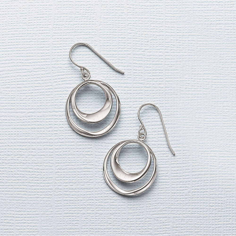 Seeing Double Silver Drop Earrings