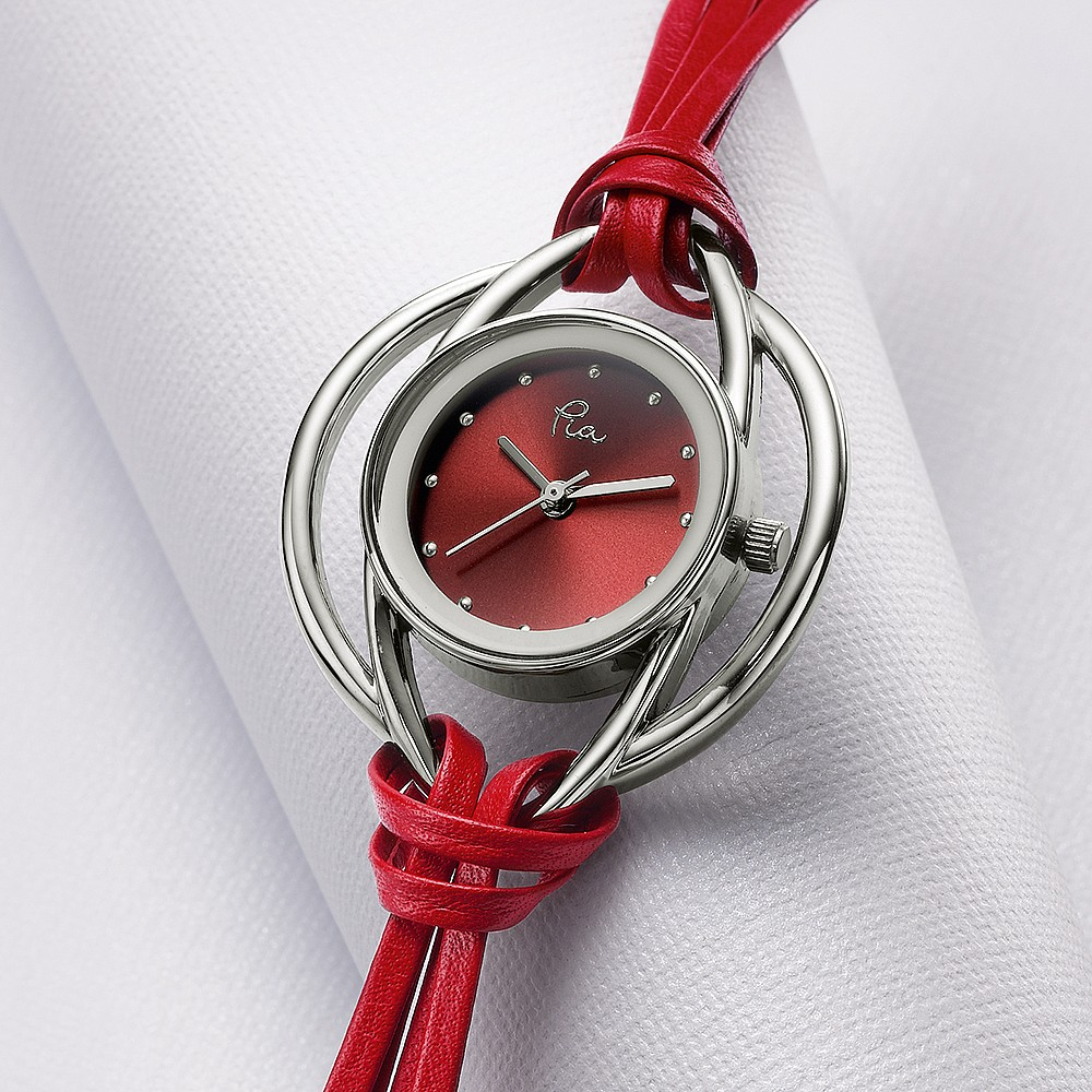 Scarlet Red Leather Loops Watch