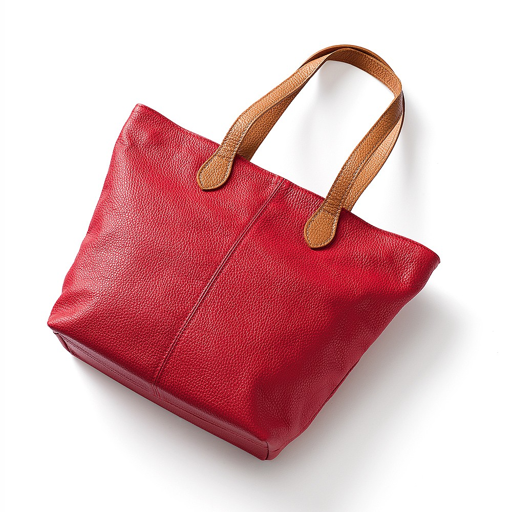 Around Town Geranium Leather Tote Bag