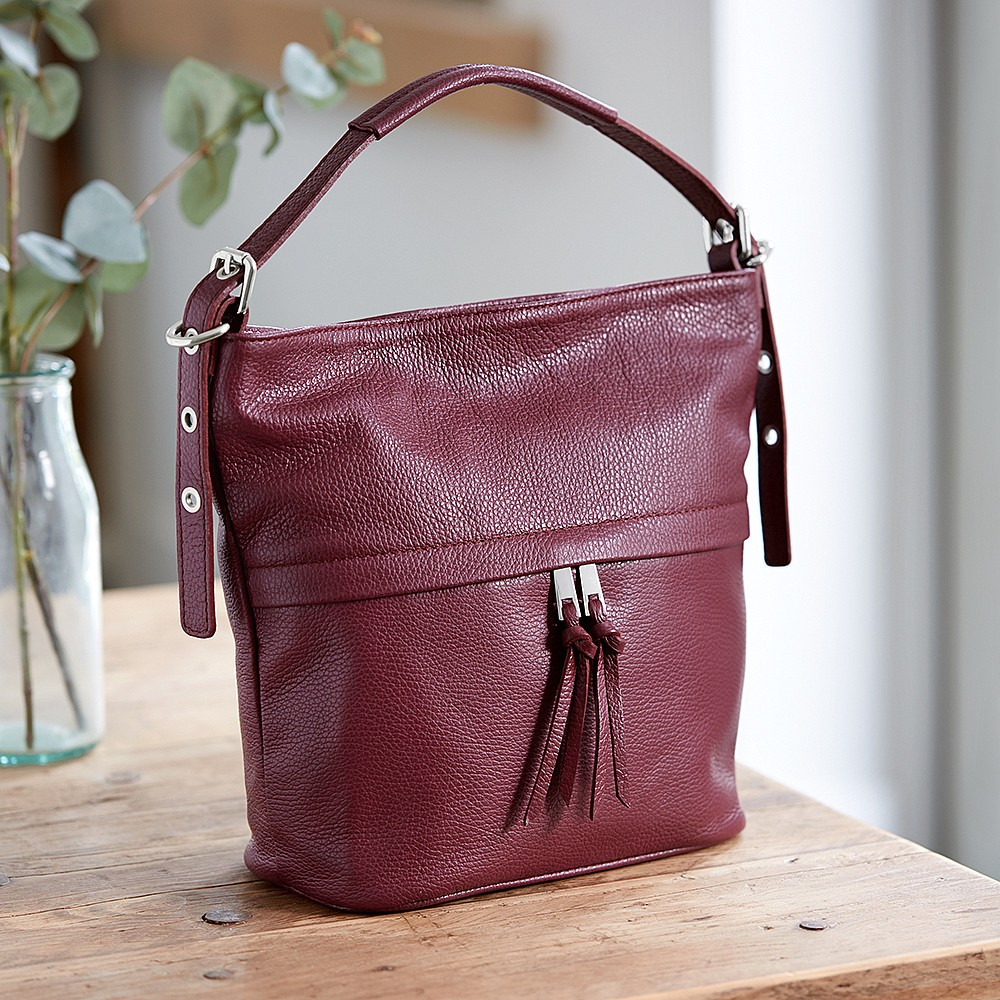 Crushed Berry Leather Bucket Bag