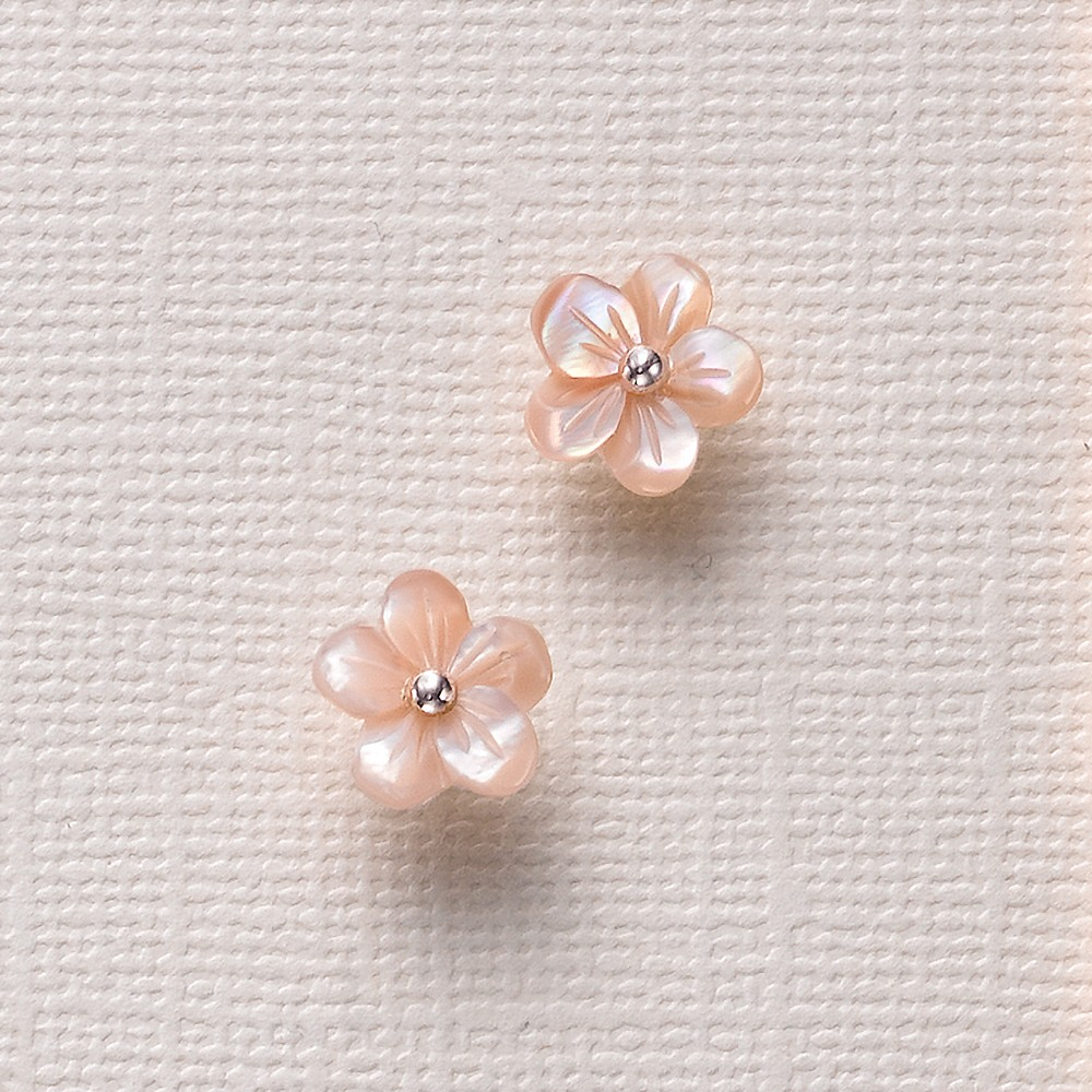 Blush Mother-of-Pearl Flower Stud Earrings
