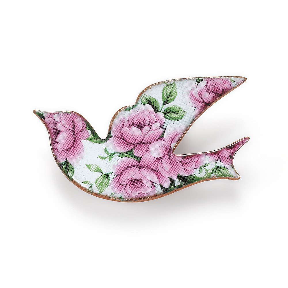 Flora in Flight Ceramic Bird Brooch