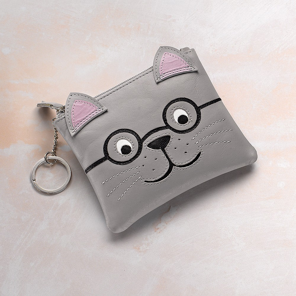 Cultivated Cat Leather Coin Purse