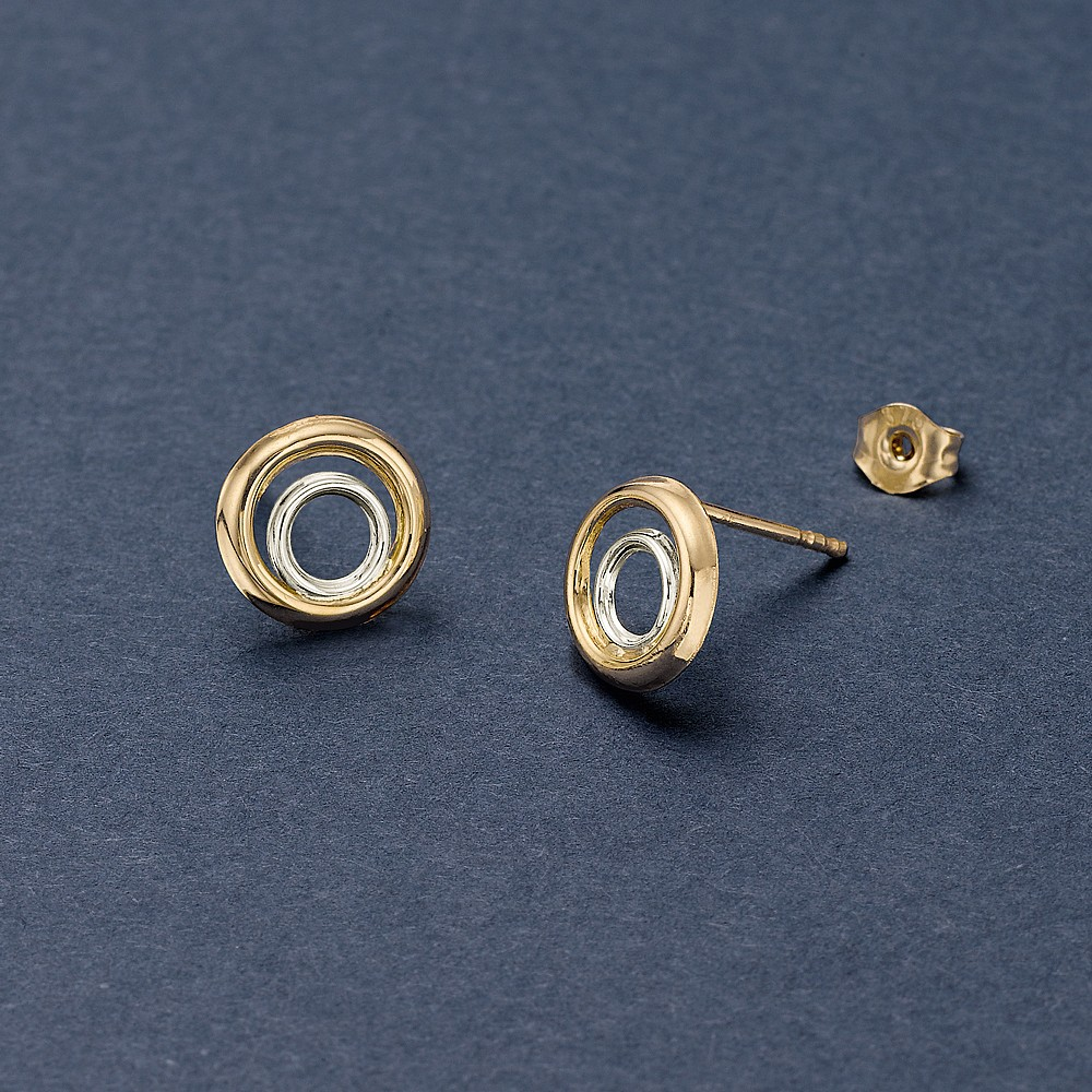 Shining Eclipse 9ct Gold Stud Earrings