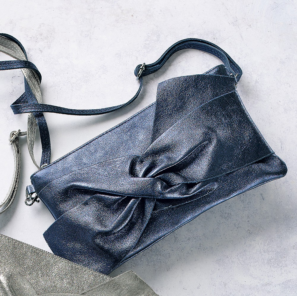 It's a Wrap Navy Leather Clutch Bag