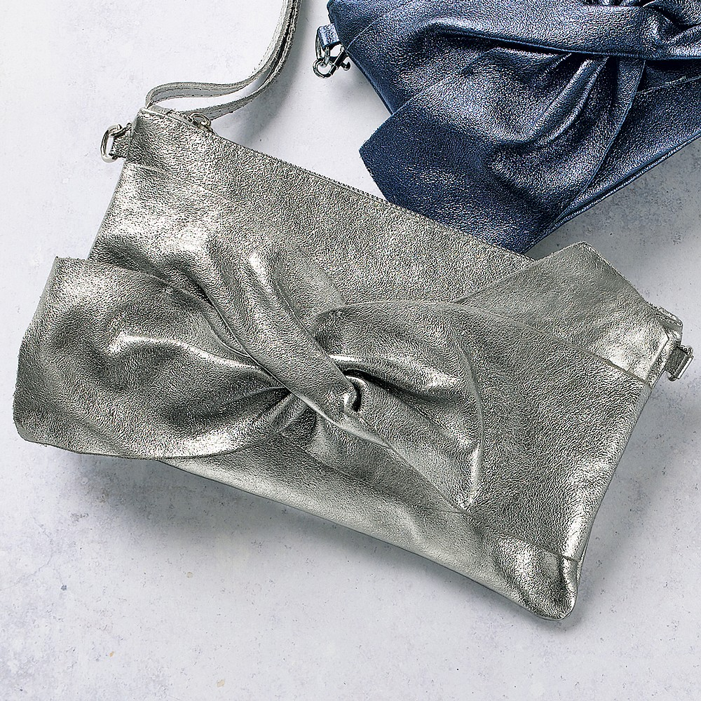 It's a Wrap Silver Leather Clutch Bag
