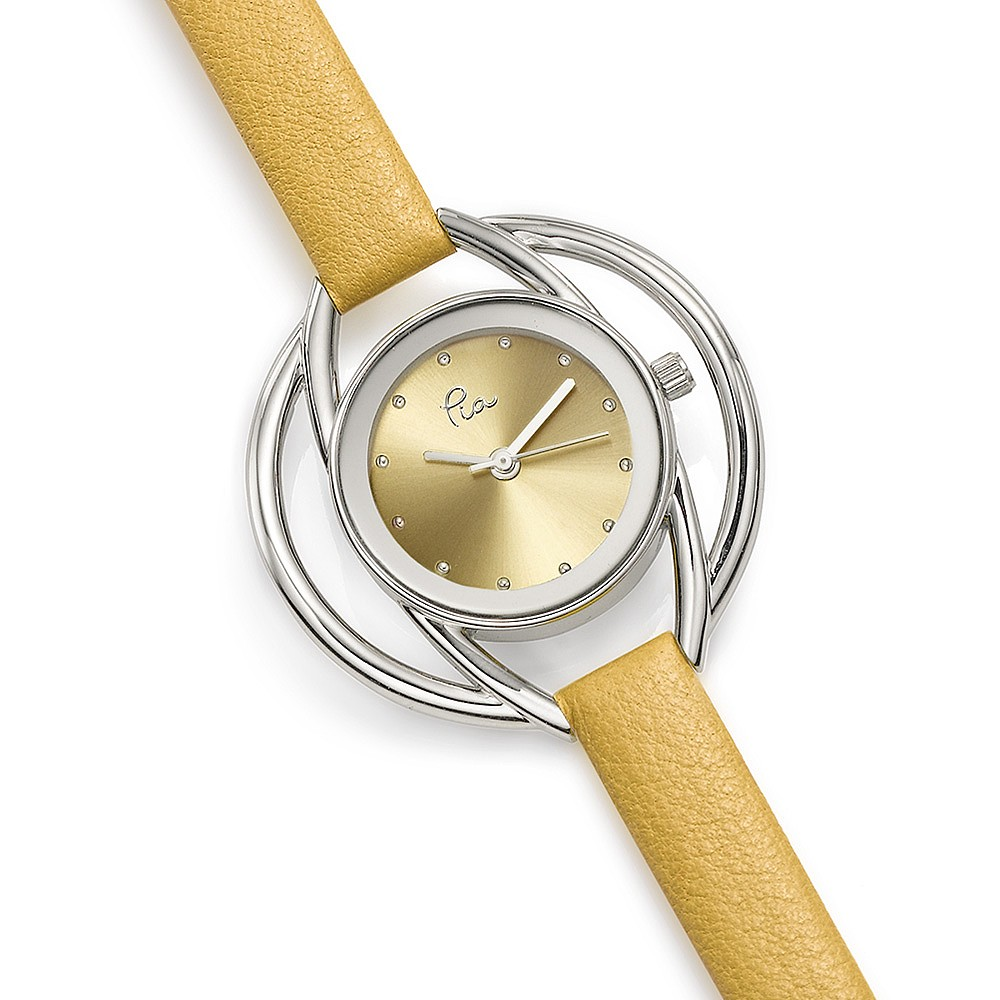 Buttercup Yellow Leather Orbit Watch