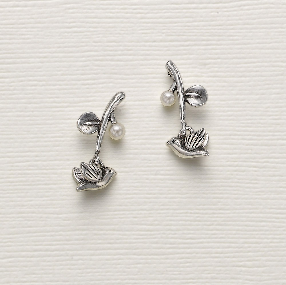 Branching Out Silver Stud Earrings