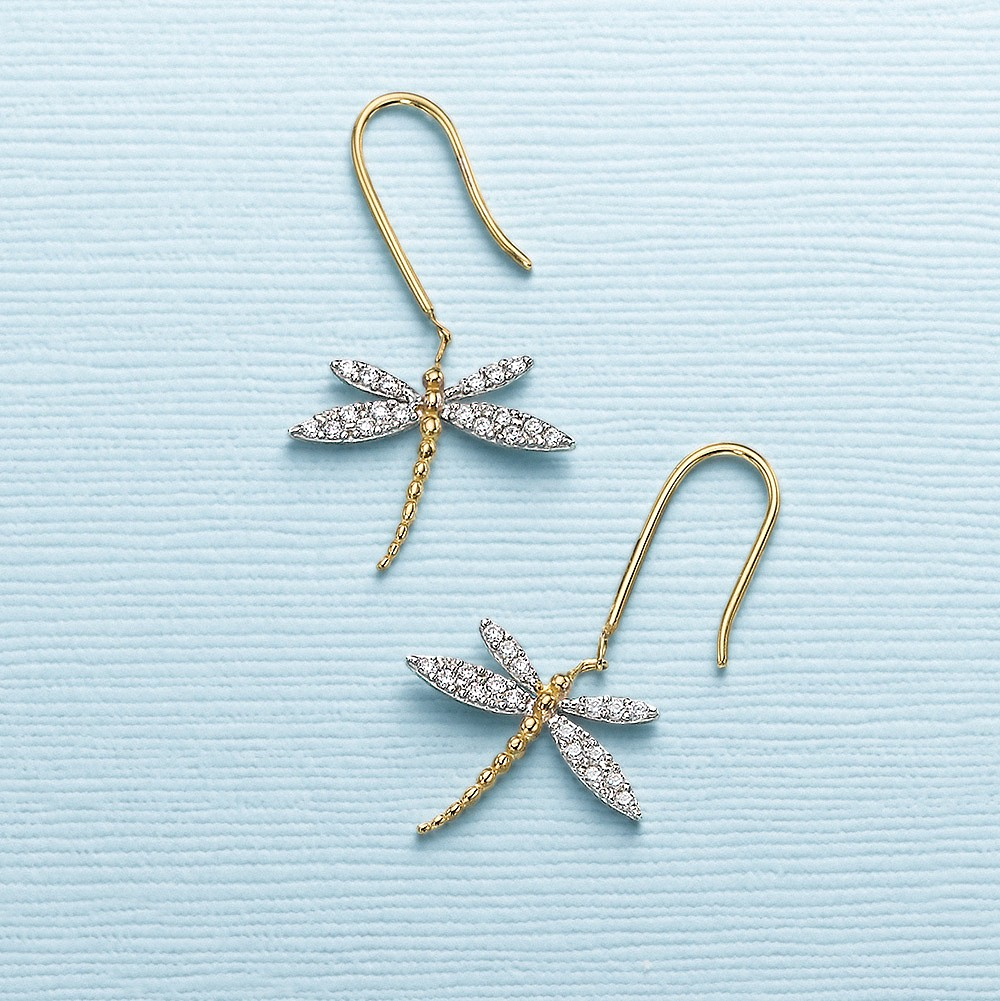 On Gilded Wings Dragonfly Earrings