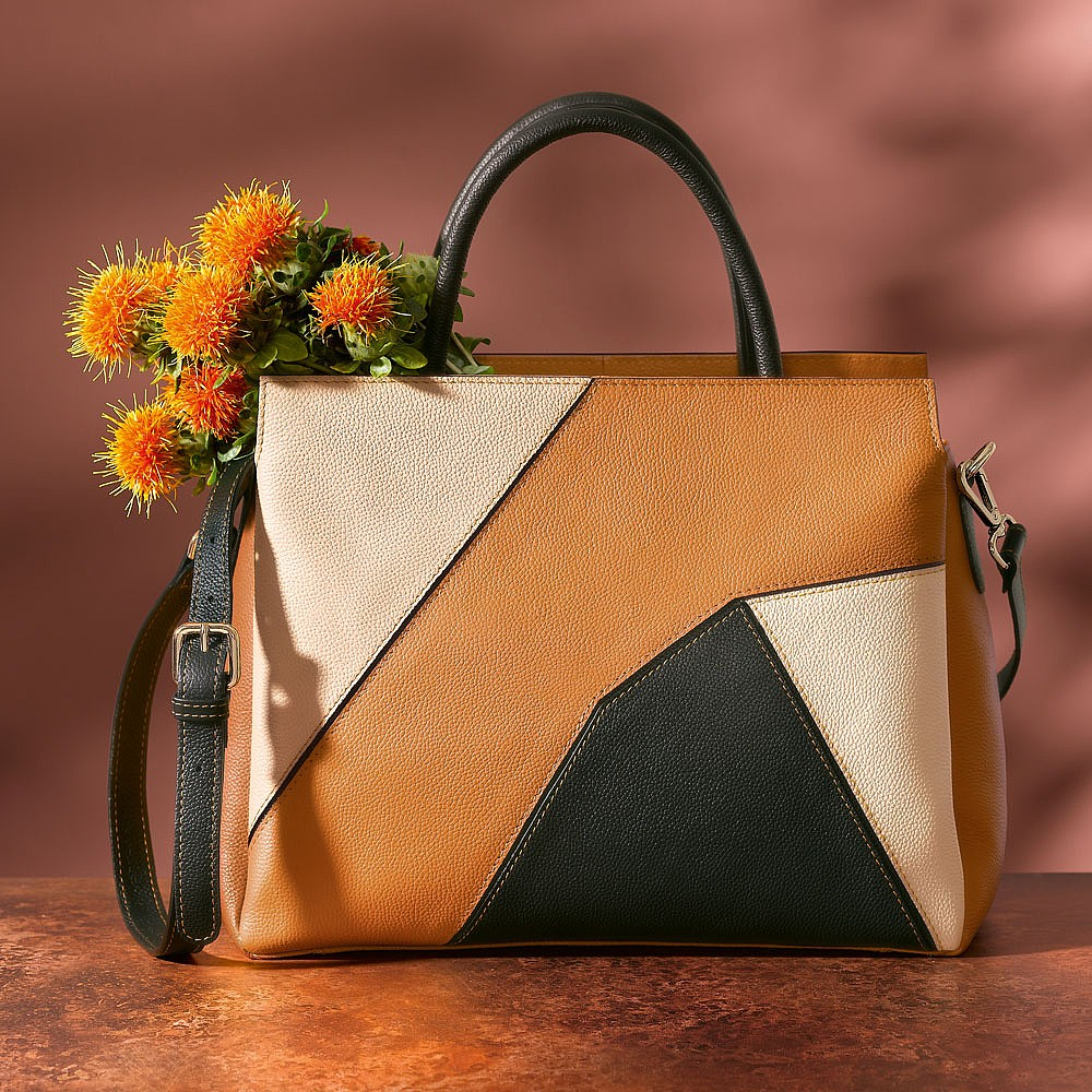 Piece by Piece Leather Tote Bag