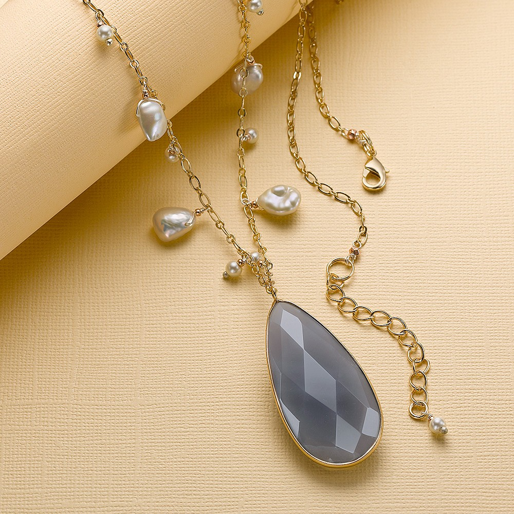 Feel the Rain Agate and Pearl Pendant