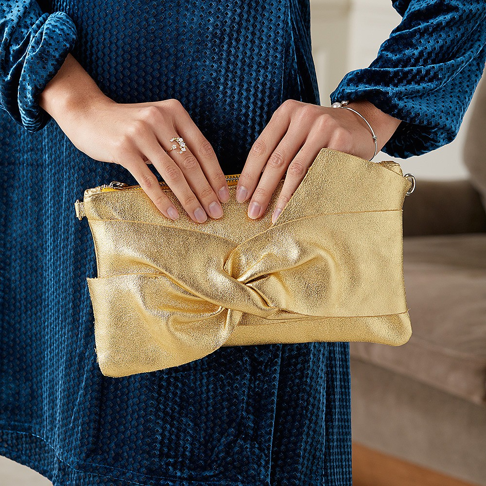 It's a Wrap Gold Leather Clutch Bag