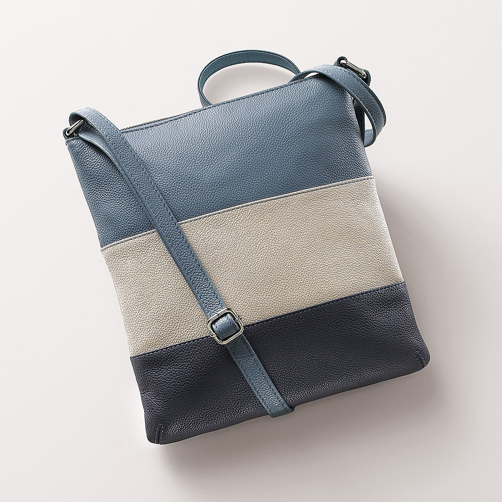 Horizons Blue Leather Cross-Body Bag