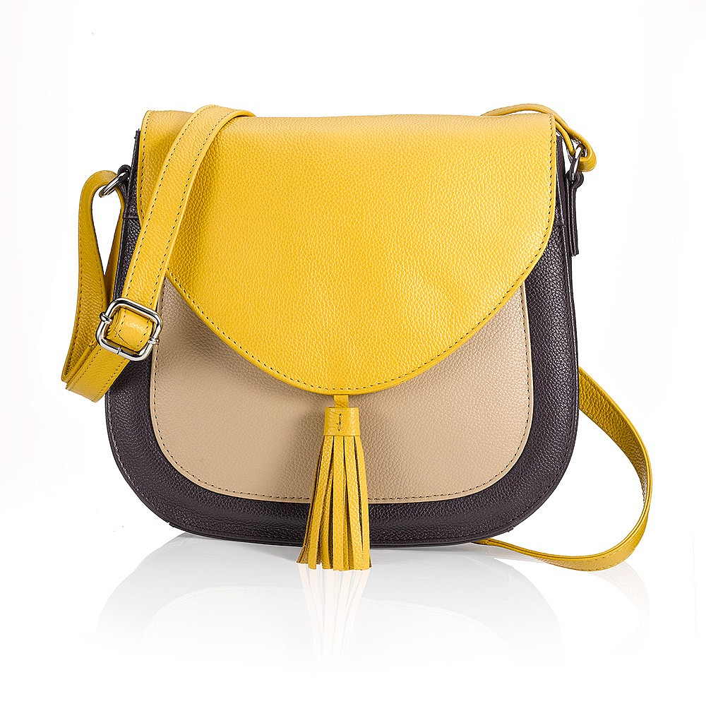 Mustard Medley Leather Saddle Bag