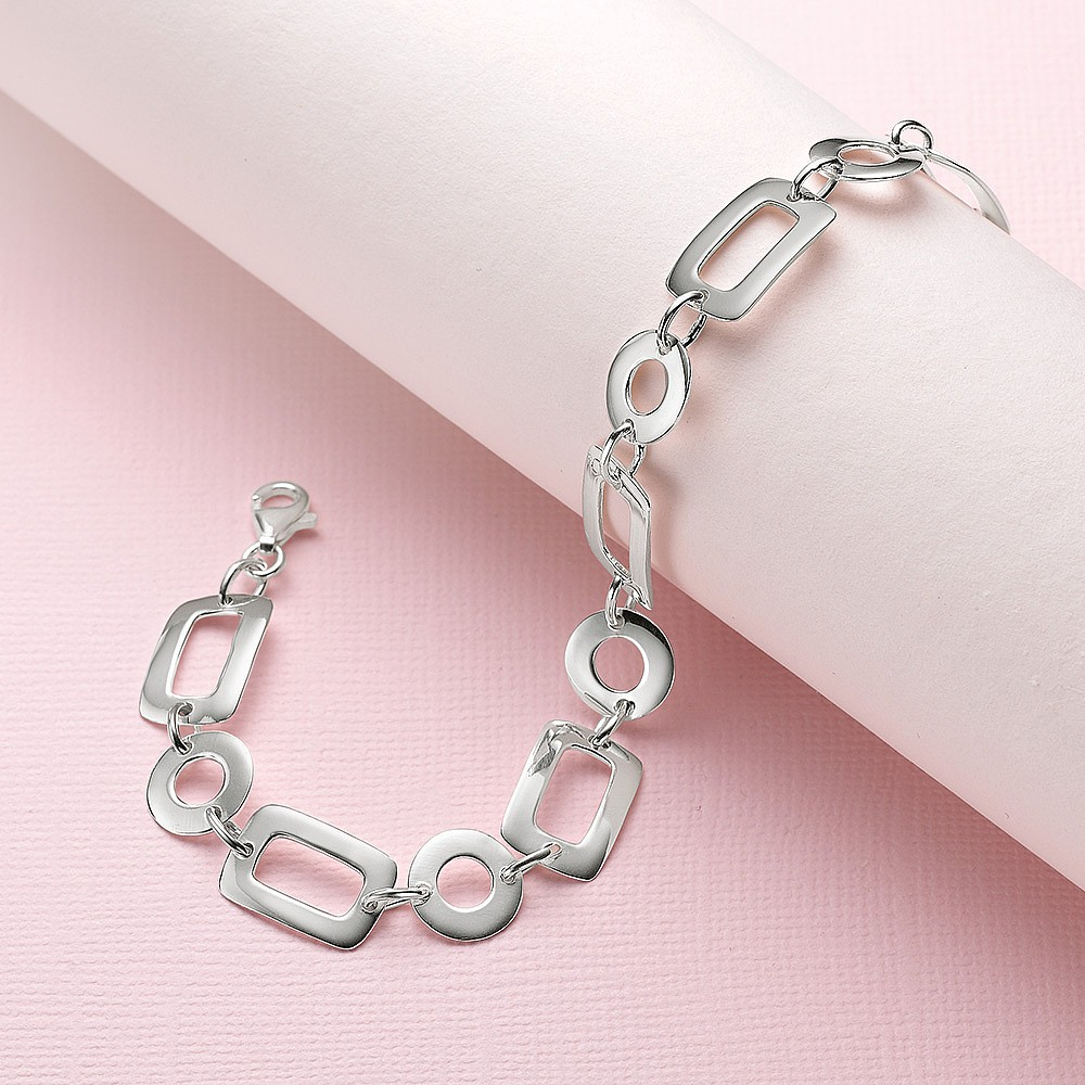 Fall into Step Silver Bracelet