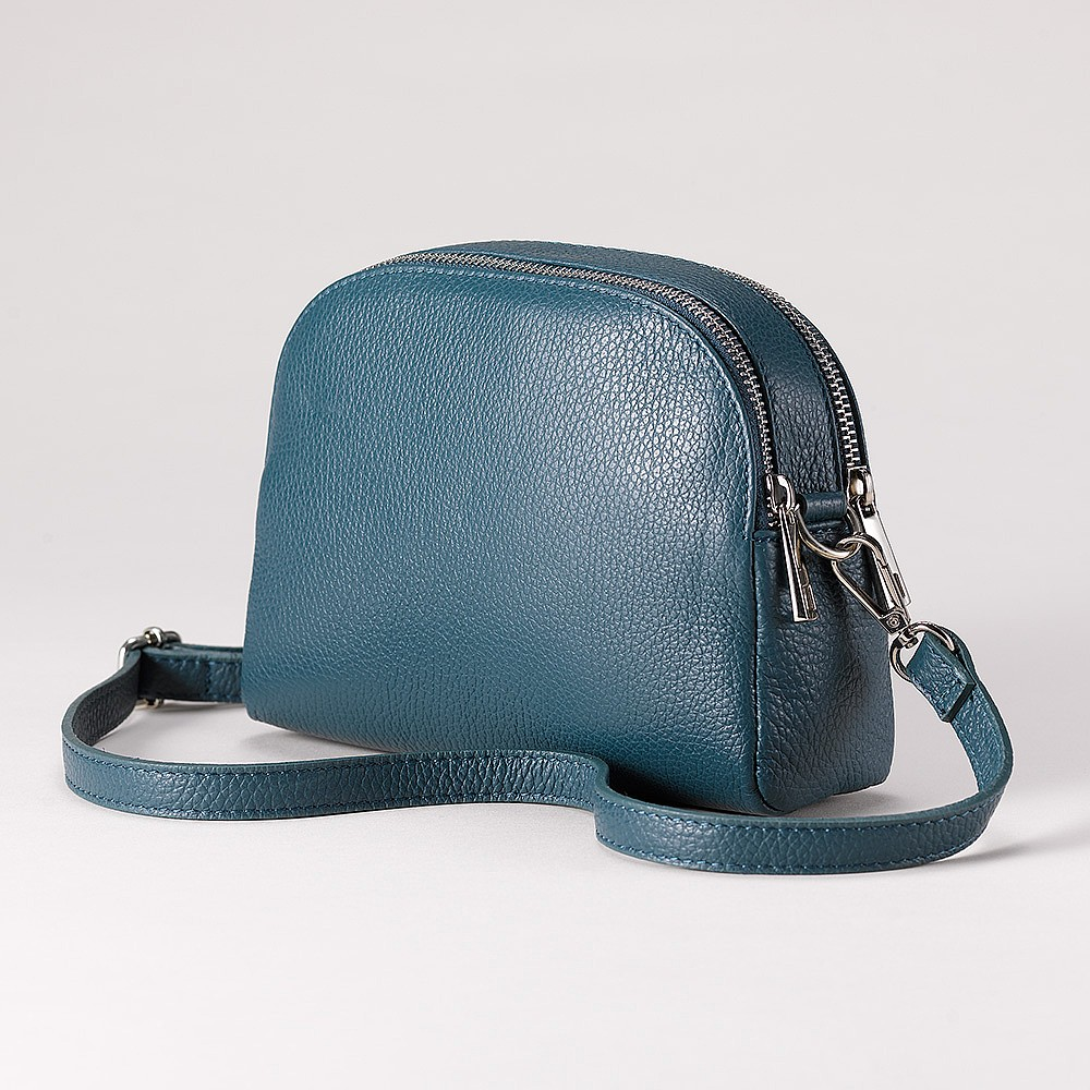 Teal to Go Leather Cross-Body Bag
