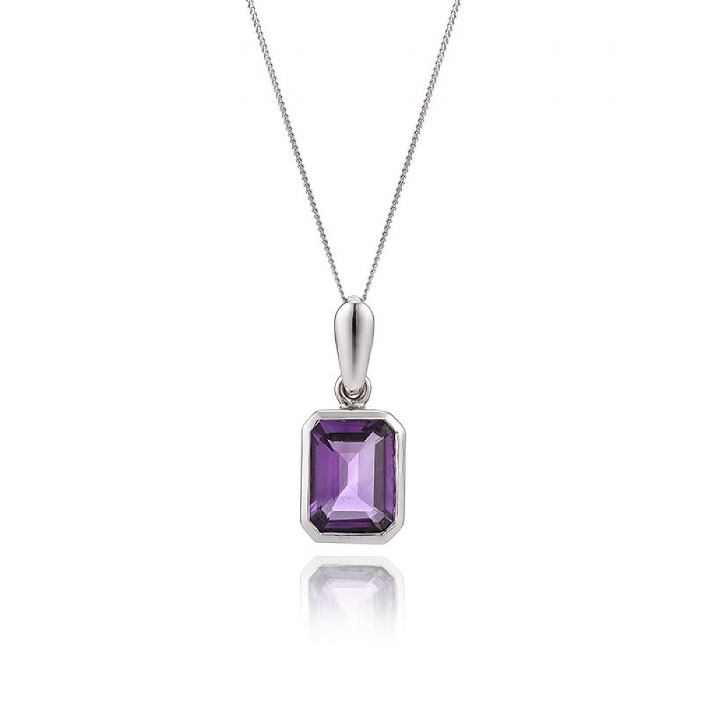 Buy white gold amethyst pendant from pia jewellery brand white gold amethyst pendant mozeypictures Image collections