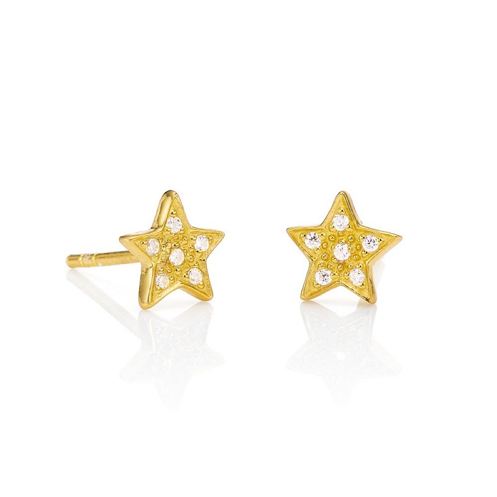 Brand Reach For The Stars Golden Stud Earrings