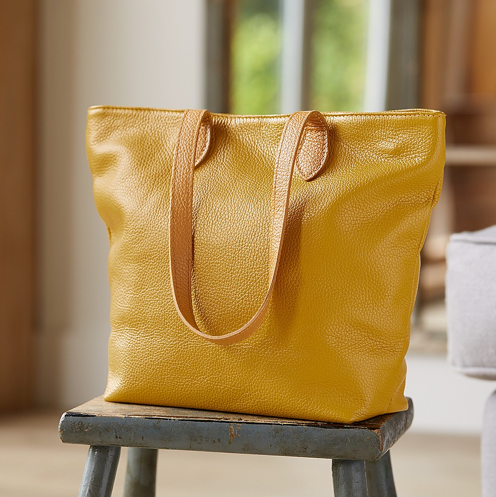 Bags Around Town Mustard Leather Tote Bag