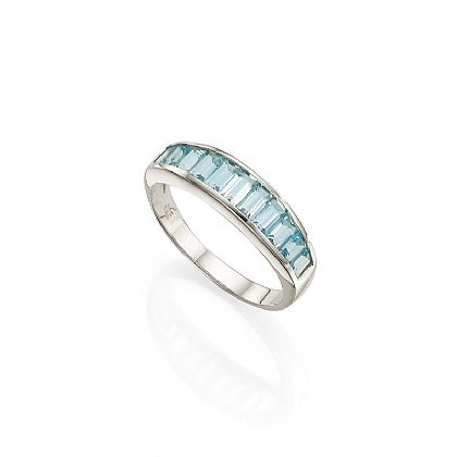 Linear Blue Topaz Ring