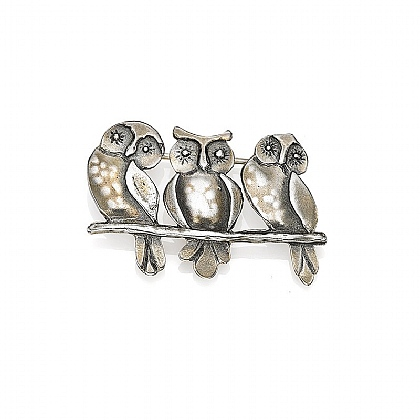 Three Owls Brooch