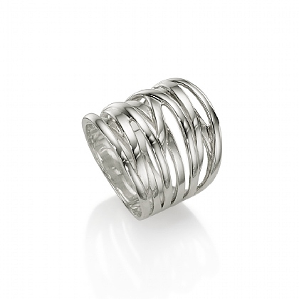 Silver Strands Wide Ring