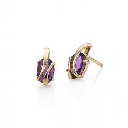 Wrapped In Gold Amethyst Stud Earrings