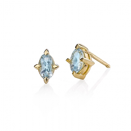 Gold & Blue Topaz Stud Earrings