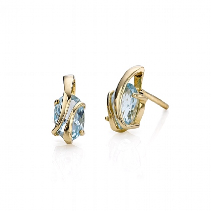 Wrapped In Gold Blue Topaz Stud Earrings