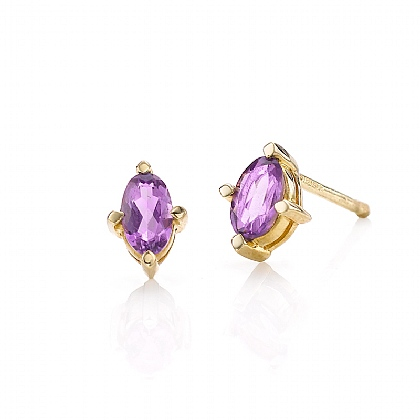Gold & Amethyst Stud Earrings