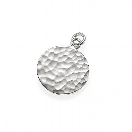 Silver Hammered Disc Charm