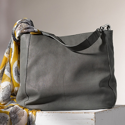 Grey Leather Slouch Bag