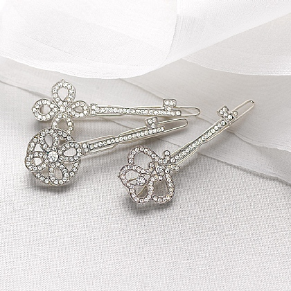 Crystal Key Hairclips