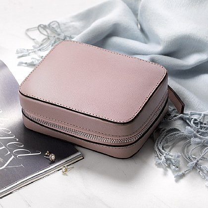 Blush Leather Travel Jewellery Case