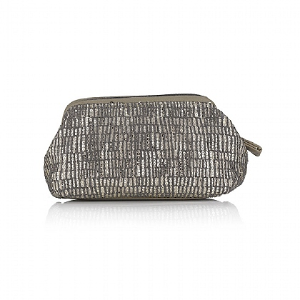 Grey Sequined Cream Cosmetics Purse