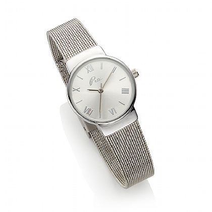 Elegant Silver Mesh Watch