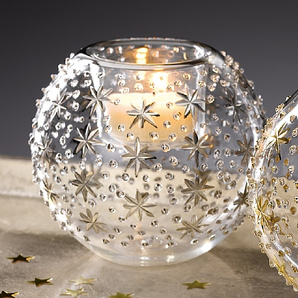 Silver Stars Tealight Holder