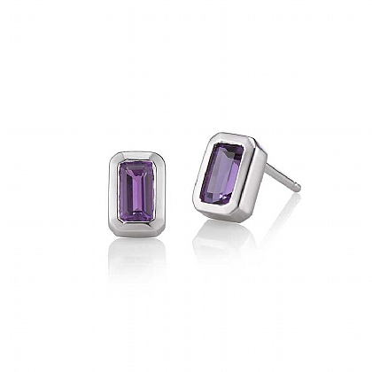 White Gold & Amethyst Stud Earrings
