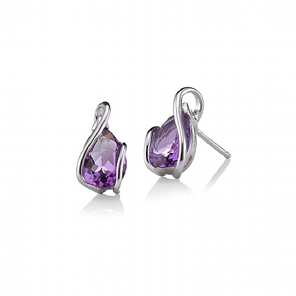 White Gold & Amethyst Teardrop Stud Earrings