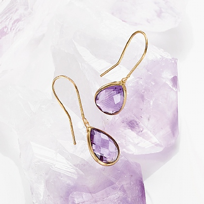 Gold & Amethyst Teardrop Earrings