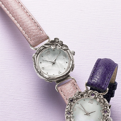 Blush Silver Floral Watches